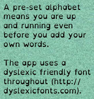 A preset alphabet means you can get started before you even start editing.